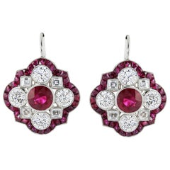 Platinum 2.67 Carat Ruby and Diamond Earrings