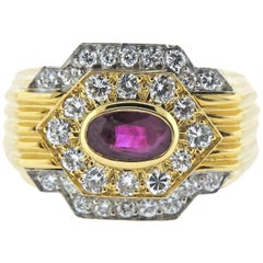 David Webb Ruby Diamond Platinum Gold Ring