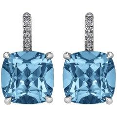 Cushion Cut Medium Size Deep Blue Topaz Diamond Platinum Drop Earrings