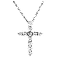 Tiffany & Co. Diamond Platinum Crucifix Pendant Necklace