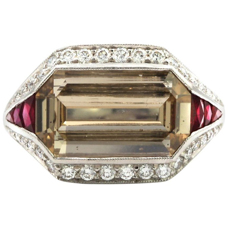5.00 Carat Emerald Cut Diamond with Rubies in Platinum Ring For Sale