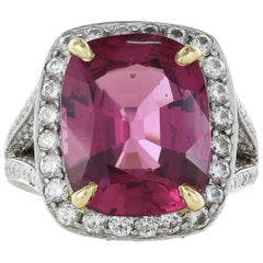 Platinum 10.55 Carat Cushion Pink Spinel and Diamond Ring