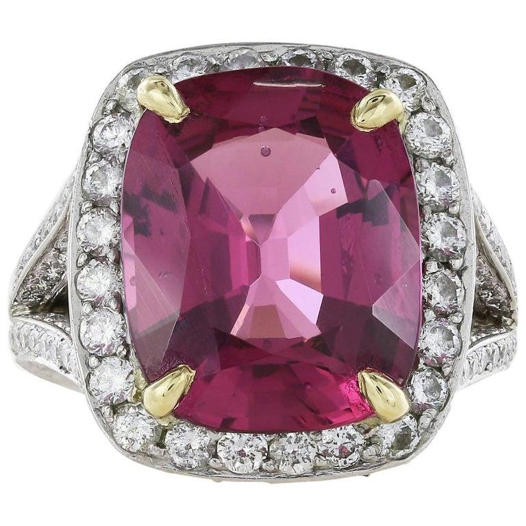 Platinum 10.55 Carat Cushion Pink Spinel and Diamond Ring