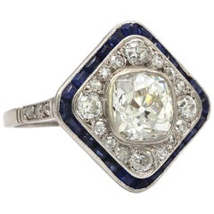 "1.70 Carat Cushion Cut White Diamond with Sapphires ""old heritage"" Ring Platinum"