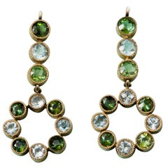 Gold Tourmaline and Aquamarine Earrings