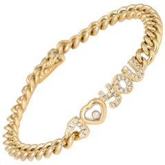 Chopard I Love You Diamond Bracelet Vintage 18 Karat Yellow Gold Estate Jewelry