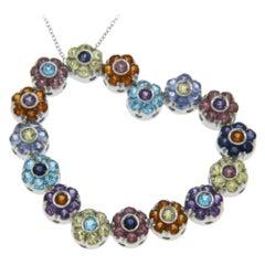 Pasquale Bruni Multi-Color Stones Flowers Large Hreat Necklace