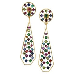 Platin Drop Earrings with Sapphires, Rubies, Emeralds