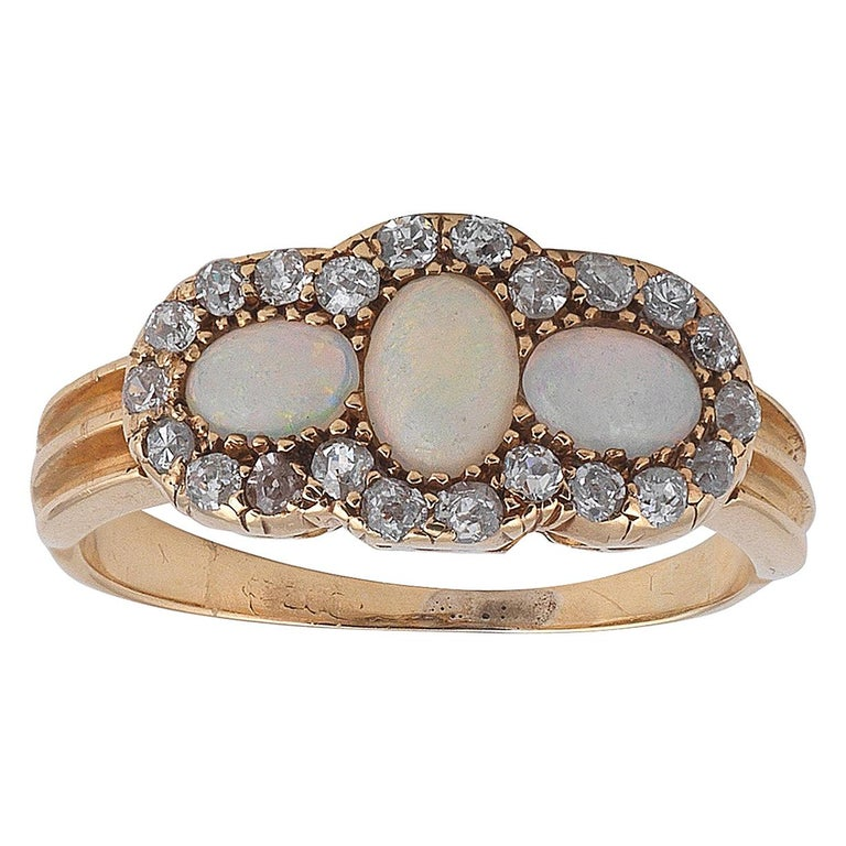 Late Victorian 18 Carat Gold Opal and Diamond Ring