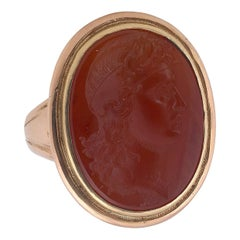 Neoclassical Large Carnelian Intaglio Apollo Ring