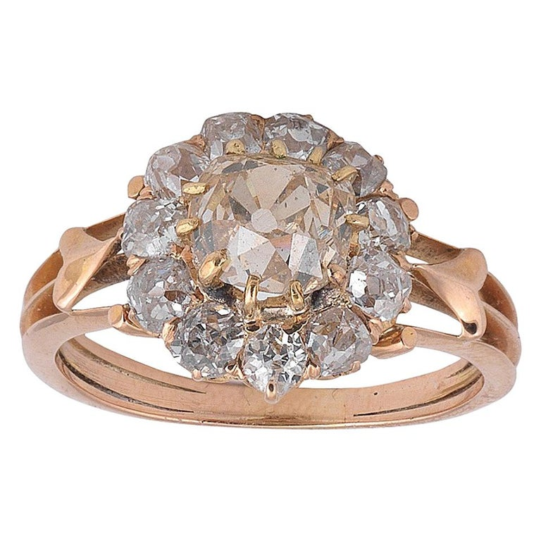 Early 20th Century Colored Diamond and Diamond Cluster Ring