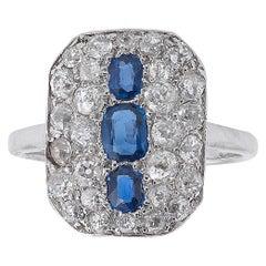 Art Deco Sapphire and Diamond Plaque Ring, circa 1920