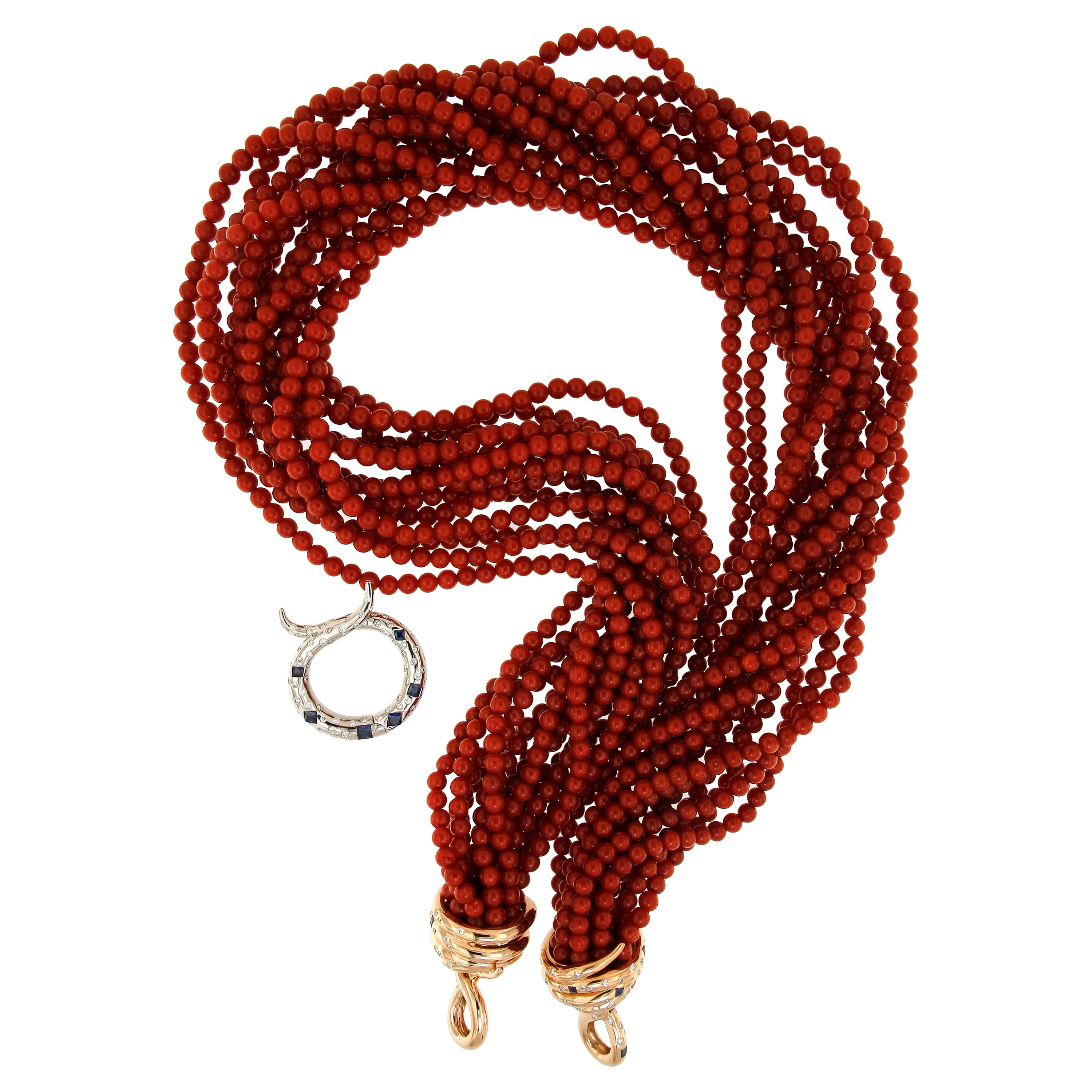 18k Pink Gold Coral Blue Sapphires White Diamonds Tassle Multistrand Necklace