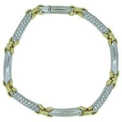 Vintage Diamond Bracelet, Approx. 1.20 Carat, Yellow Gold White Gold