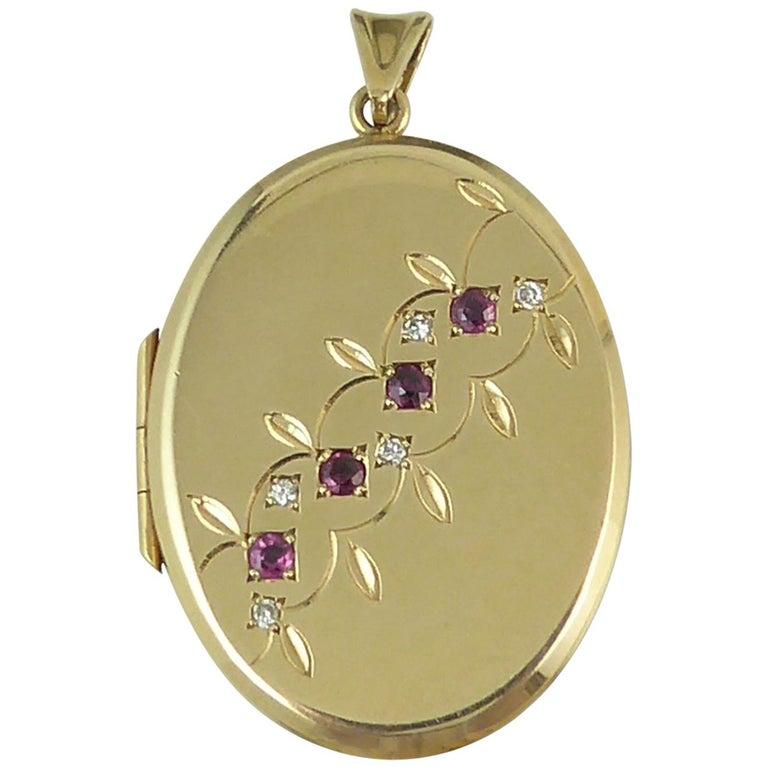 Vintage Ruby Diamond Locket, Yellow Gold, circa 1990s