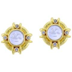 Elizabeth Locke Light Aqua Venetian Glass Intaglio Earrings