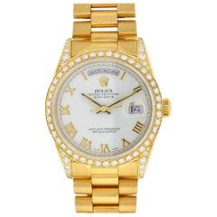 Rolex Day-Date President 18 Karat Yellow Gold Quick Factory Diamonds Bezel