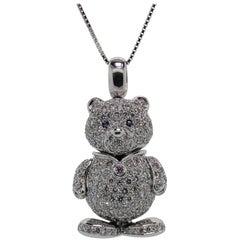 Diamond Gold Teddy Bear Pendant