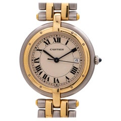 Cartier yellow gold stainless steel Vendome Panther quartz Wristwatch, c 2000s