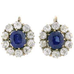 Antique Sapphire Diamond Cluster Earrings Drop Stud in Rose Gold Victorian