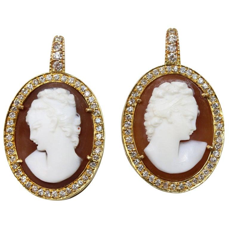 1960s Cameo and Diamond Pendant-Earrings