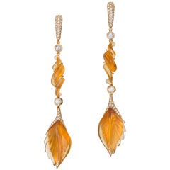 Carved Citrine and Diamond Earrings
