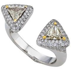 18K White Gold Two 0.76 Carat VS Triangle Diamond Ring