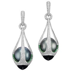 18K White Gold Drop-Shape Tahiti Black Pearl Tsavorite and Tourmaline Earrings