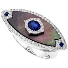 18K White Gold Mother-of-Pearl Diamond and Sapphire Cocktail Ring