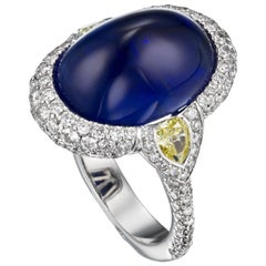 18K White Gold GRS Certified 13.57 Carat Suferloaf Sapphire and Diamond Ring