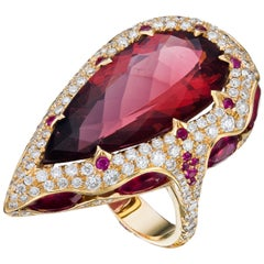 18K Gold Rose 13.51 Carat Rubellite Ruby, Red Tourmaline Diamond Ring