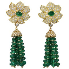 Emerald Bead and Diamond Tassel Pendant Earclips