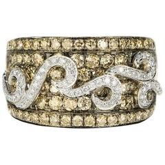 LeVian Chocolate and White Diamond Gold Ring
