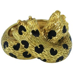 Fred Enamel and Gold Panther Ring