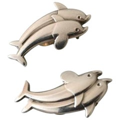 Georg Jensen Sterling Silver Earclips with Dolphins No 129