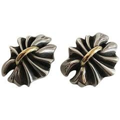 Georg Jensen Sterling Silver and 18K Gold Lene Munthe Earrings (Clips) No 400
