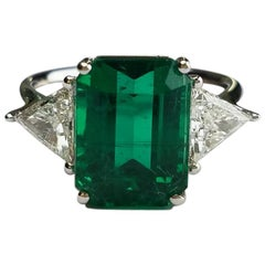 5.82 Carat Emerald and Diamond Three-Stone Cocktail Ring