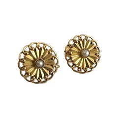 Georg Jensen 18 Karat Gold Earrings 'Screws' Ornamented with a Pearl