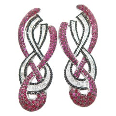 Deep Red Ruby Black and White Baguette Diamond Double Twist Long Gold Earrings