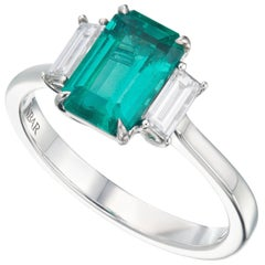 1.3 Carat Afghan Emerald and Diamond Ring