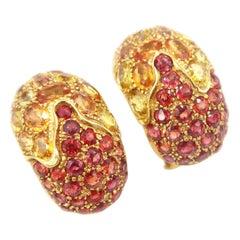 Yellow and Orange Sapphire Gold Clip on Huggie Hoop Earrings
