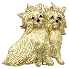 Vintage Smoky Quartz Yellow Gold 'Yorkshire Terrier' Dog Brooch