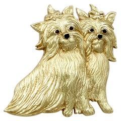 Vintage Smoky Quartz Yellow Gold 'Yorkshire Terrier' Dog Brooch