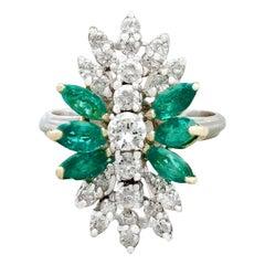 Vintage 1.62 Carat Emerald and 1.28 Carat Diamond White Gold Dress Ring