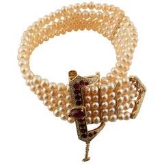 Diamonds Rubies Light Pink Rose Little Pearls Rose Gold Beaded Bracelet