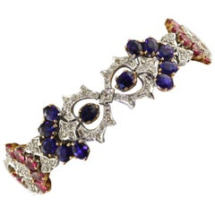 White Diamonds Blue Sapphires Rubies White Gold Link Bracelet