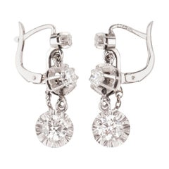 1.80 Carat Gold and Platinum French Art Deco Earrings
