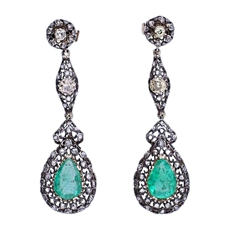 Mario Buccellati Gold Diamond Emerald Earrings
