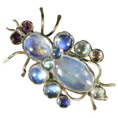 Antique Victorian Moonstone Ruby Bug Brooch 9 Carat Gold