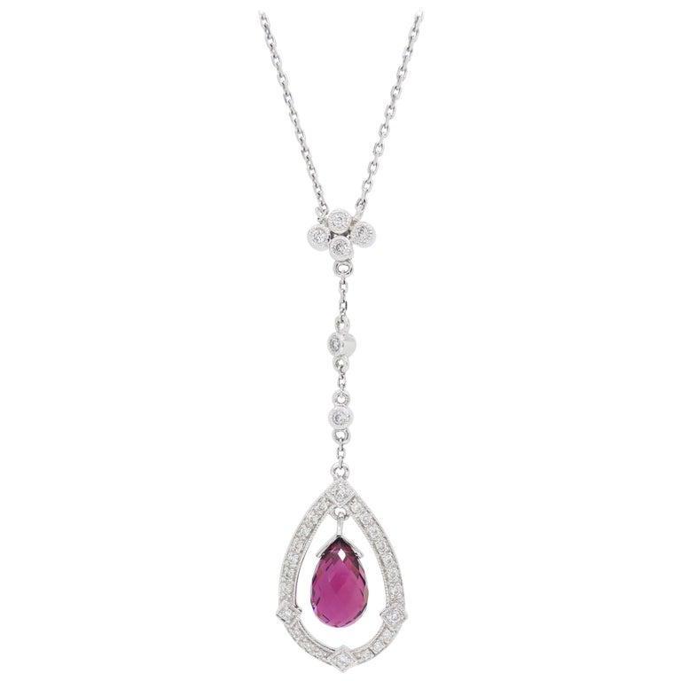 Diamond and Pink Tourmaline Drop Necklace